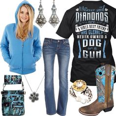 Diamonds Are A Girls Best Friend Filigree Bullet Earrings Outfit - Real Country Ladies Camo Girl Outfits, Funny Outfits, Cute Casual Outfits, Girl Camo, Country Style Outfits, Country Chic, Country Living, Cute Fashion, Fashion Outfits