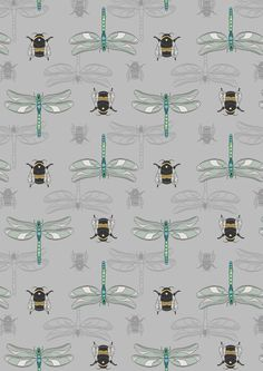 The Botanist A123-3 Grey dragonfly and bee Half metre Lewis & Irene Patchwork Quilting Fabric by MarilynsPatchwork on Etsy