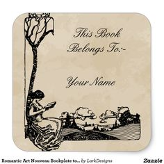 Romantic Art Nouveau Bookplate to Personalize Square Stickers by Larks Designs