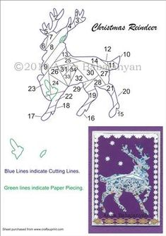 Christmas Reindeer Iris Folding Pattern on Craftsuprint designed by Anna Babajanyan - Beautiful Christmas Reindeer Iris folding pattern which you can combine together with any of my Christmas Tree Iris folding patterns or add some presents, snowflakes etc to give your card various looks. This pattern is very easy to cut and fold. - Now available for download!