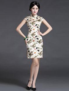 Koi fish silk light champagne cap sleeve mandarin collar short dress | Mandarin Collar Dress