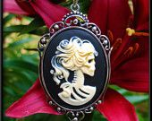 Skeleton Lady Cameo Necklace, Day of the Dead Gothic Skeleton Cameo Portrait Pendant