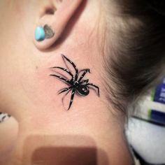spider tattoo behind ear