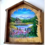 Hand Painted Saw Blade in Wood Frame Spring Cabin