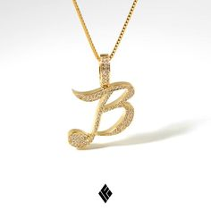 """Solid 14K Yellow Gold Milli """"B"""" Pendant Fully Iced Out. Custom made for @king_goldberg #CustomJewelry #IFANDCO"""