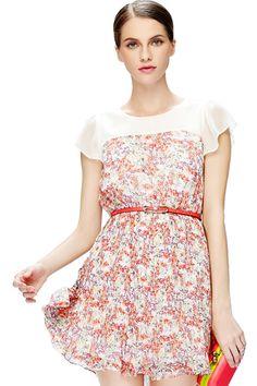 ROMWE | Floral Print Pink Chiffion Dress, The Latest Street Fashion #ROMWE