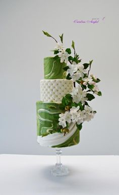 spring mood- apple blossoms cake by Catalina Anghel azúcar'arte. Shared by SPCN. Floral Wedding Cakes, Elegant Wedding Cakes, Elegant Cakes, Floral Cake, Wedding Cake Designs, Gorgeous Cakes, Pretty Cakes, Amazing Cakes, Different Wedding Cakes