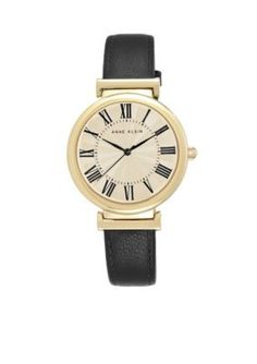 Anne Klein  Womens Navy Leather Roman Numeral Dial Watch