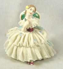 Aelteste Volkstedter DRESDEN Frozen Lace Porcelain Figure -Woman in Chair Arm Up
