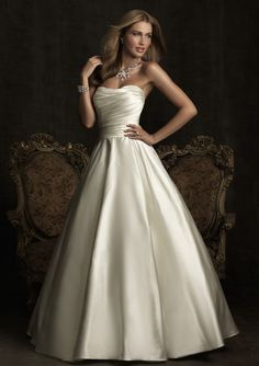 A-Line Strapless Dropped Chapel Trailing Bridal Wedding Dresses