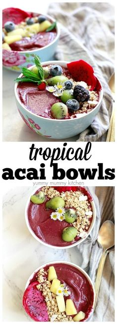How to make tropical acai bowls. You'll love this easy acai bowl recipe with frozen acai packs, fruit, and granola. Acai smoothie bowls make a great healthy superfood breakfast or snack.