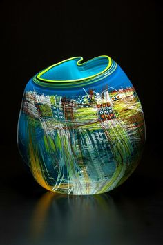 Vases – Home Decor : Dale Chihuly, Turquoise Soft Cylinder with Lime Lip Wrap -Read More – Blown Glass Art, Art Of Glass, Glass Artwork, Stained Glass Art, Dale Chihuly, Glass Vessel, Glass Ceramic, Mosaic Glass, Vases