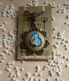Enamel and Silver plated metal Embroidery Locket Necklace Teal Vintage Embroidery