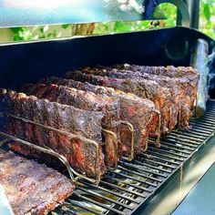 Rib Rack Thick and deliciously smoked Traeger BBQ ribs. You won't find any shiners on these racks. Traeger Bbq, Traeger Recipes, Grilling Recipes, Cooking Recipes, Rib Recipes, Chicken Recipes, Deco Pizzeria, Barbecue Four A Pizza, Bbq Pit Smoker