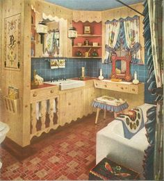 """Who says a bathroom can't be colonial style? Perhaps the answer should have been, """"everyone.""""  Armstrong vintage flooring ad files. 1940s Decor, Retro Home Decor, Funky Decor, Shabby Chic Vintage, Vintage Decor, 1940s Home, Design Your Own Home, Décor Boho, Bohemian Living"""