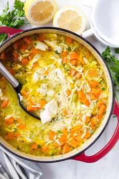 This easy vegetable turkey orzo soup uses leftover Thanksgiving turkey. It's easy, delicious, and made in one pot Thanksgiving Leftovers, Thanksgiving Recipes, Holiday Recipes, Clean Eating Snacks, Healthy Eating, Orzo Soup, Rice Soup, Leftover Turkey Recipes, Vegetable Soup Recipes