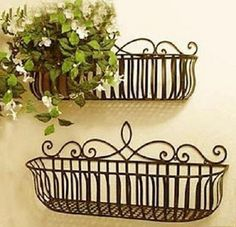 Wrought Iron French Style Wall Mount Flower Pot Plant Holder Window Box Size L Wrought Iron Window Boxes, Metal Window Boxes, Window Box Flowers, Wrought Iron Decor, Metal Flowers, Flower Boxes, Hanging Flower Baskets, Hanging Plants, Iron Windows