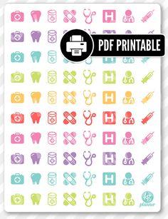 Docteur assortiment PDF imprimable Planner autocollants pour Erin Condren Planner, Filofax, prune papier