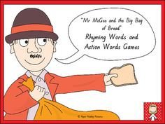 Mr McGee and the Big Bag of Bread - rhyming words and action words games Rhyming Word Game, Word Games, Fast Finishers, Action Words, Prep Life, Game Cards, Word Study, Big Bags, Hands On Activities