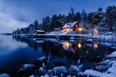 Schwedenhaus am See im WInter