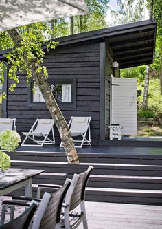 The Finnish holiday holidays include a beach sauna or a sauna cabin. Our holiday home … – Garden Types - How to Make Gardening Sauna Design, Outdoor Sauna, Summer Cabins, Container House Design, Black House, Porches, Outdoor Living, Outdoor Spaces, Pergola