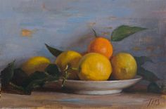Julian Merrow-Smith | Still life with lemons and clementines, oil on stretched linen, 2013