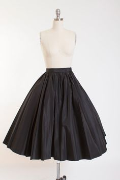 Vintage 1950s Full Sweep Skirt in Black Taffeta by stutterinmama
