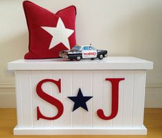 Toy Box Letter and Star Boys Toy Box Toy by littlebigdesignsshop