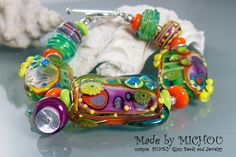 Funky Venus Flytrap   Art Glass  Lampwork by MichouJewelry on Etsy, $169.00