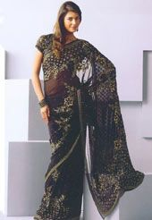 Black Pure Georgette Saree