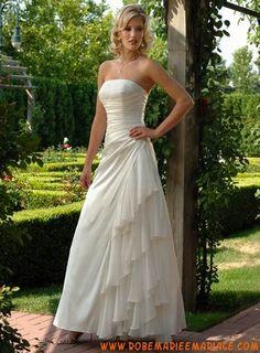 Ivoire ligne A drapé sans bretelle mousseline de soie robe de mariée
