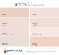 I found these colors with ColorSnap® Visualizer for iPhone by Sherwin-Williams: Romance (SW 6323), Angelic (SW 6602), White Dogwood (SW 6315), Polite White (SW 6056), Intimate White (SW 6322), Faint Coral (SW 6329), Cosmetic Blush (SW 7110), Blushing (SW 6617).
