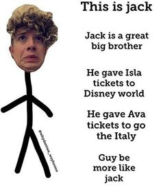 Why xant my brother do that.  Be more like Jack, Robert avery! Robert! Gosh! *scoffs*~erika