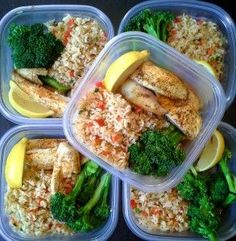Simple and colorful meal prep!  Baked, lemon tilapia with steamed broccoli and brown rice with sauteed peppers and green onions.