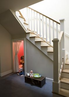 Kids Play Cubby Under Stairs Design Ideas, Pictures, Remodel, and Decor Space Under Stairs, Under Stairs Cupboard, Under Stairs Playroom, Playroom Closet, Basement Closet, Under Stairs Storage Solutions, Hidden Rooms, Hidden Spaces, Stair Storage