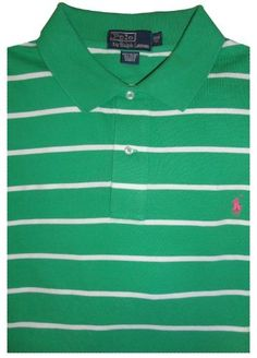 Men\u0026#39;s Polo By Ralph Lauren Big and Tall Short Sleeve Polo Shirt Green and White Striped w/ Pink Pony Ralph Lauren,