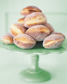 """Holey Deliciousness: 12 Heavenly Doughnut Recipes Martha Stewart Living - They've been called """"the new cupcake,"""" but we've loved doughnuts since before they were hip. Leavened or cakelike, glazed or oozing puddles of pastry cream -- the best doughnuts a Hanukkah Food, Hannukah, Hanukkah Recipes, Donut Recipes, Dessert Recipes, Cooking Recipes, Picnic Recipes, Baking Desserts, Cookbook Recipes"""