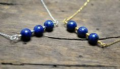 Silver bar necklace with lapis lazuli Gold bar by KarousosJewelry on Etsy