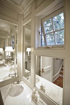 How do your work around a window where you want to put the vanity? Compromise! Turn the lower pane into a mirror and leave the upper pane of clear glass for ventilation and letting in the light!