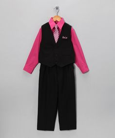 Take a look at this Silver Suit Black & Fuchsia Vest Set - Infant & Toddler on zulily today!
