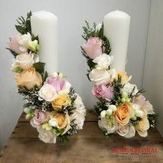 Lumanari nunta pastelate Pillar Candles, Floral Wreath, Bouquet, Pastel, Wreaths, Handmade, Design, Home Decor, Flower Arrangements