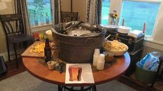 Light beer station. Was for a BYOB beer tasting party with Octoberfest theme. Pairings - guacamole and chips, salsa & chips, cheddar cheese cubes, spicy cheetos, brats and horseradish mustard (shared with dark beer station), dill pickle chips, wasabi peas, Japanese seaweed trail mix