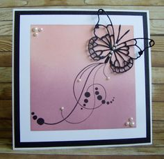 handcrafted card from Můj papírový relax ... die cut butterfly ... brayered masked square on top background layer ... lovely ...