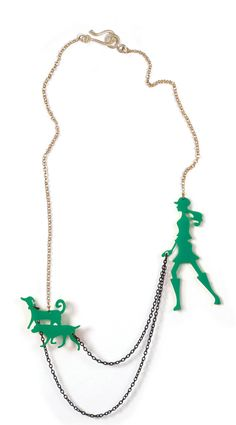 Dog walker necklace - Statement necklace - A walk in the park - Laser cut acrylic (plexiglass) jewelry, Green necklace, Animal lover jewelry