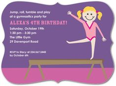 Beaming Gymnast - Birthday Party Invitations - Robyn Miller - Mustard - Yellow : Front