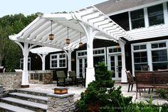 This craftsman style house backyard pergola grilling for Craftsman style trellis