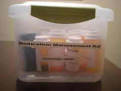 Create your own medication management kit so your patients can work on cognitive skills, fine motor coordination, and safety with medications.