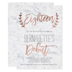 Shop Rose gold typography debut marble Birthday Invitation created by girly_trend. Personalize it with photos & text or purchase as is! 18th Debut Theme, Debut Themes, Debut Ideas, Debut Invitation 18th, Invitation Layout, Invitation Background, Invitation Ideas, 18th Birthday Ideas For Girls Themes, Girl Themes