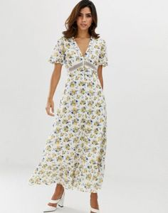 8074af71c25 ASOS DESIGN lace insert button through maxi tea dress in ditsy floral print