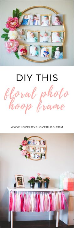 Make this floral photo hoop frame with a quick trip to the Dollar Store! #DIY #floral #hoopframe